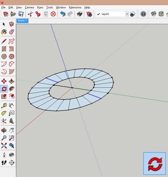 """Zadáním hodnoty (180°/zadaný úhel otočení) krát (např. """"12x"""") dojde kprokreslení i ostatních čar vzadaném úhlu. Dále vyberte všechny objekty a vytvořte znich skupinu"""