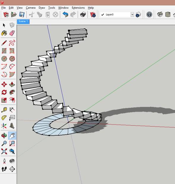 Nyní je již vytvořeno točité schodiště. Následně je možné schodiště editovat.