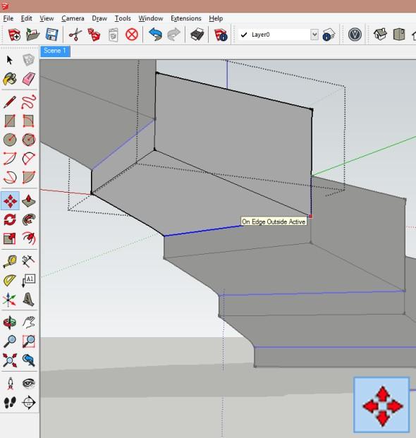 Editujte komponentu stupně a pomocí funkce Přesunout/zkopírovat přesuňte spodní hranu stupně tak, aby lícovala shorní hranou stupně předcházejícího