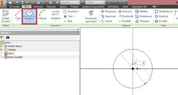 Založte nový díl a pomocí funkce Zahájit 2D náčrt nakreslete kružnici o průměru 12 mm, představující vnitřní průměr matice