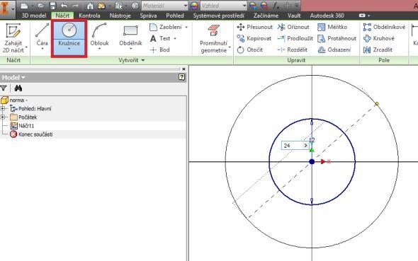 Vytvořte vnější kružnici o průměru 24 mm, která představuje průměr pro tečnu následně vepsaného polygonu