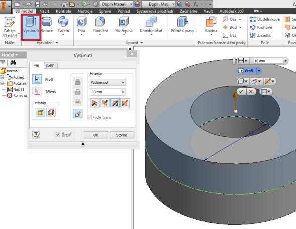 Mezikruží vysuňte symetricky do vzdálenosti 10 mm pomocí funkce Vysunutí