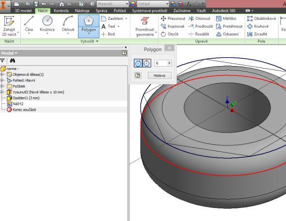Zadejte polygon o 6 hranách, kdy opsaná kružnice lícuje shranou zaobleného prstence