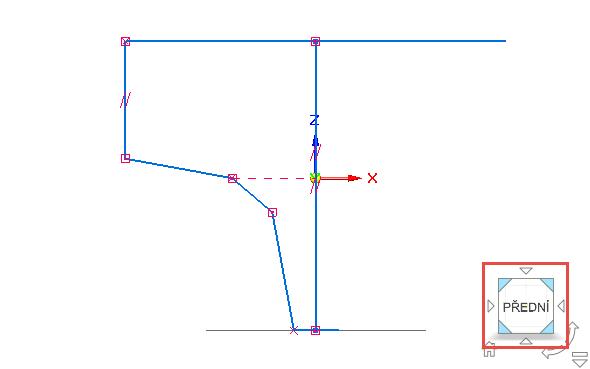Přepněte se poziční krychlí do pohledu Přední a znovu vyvolejte příkaz 3D čára, nakreslete hrubý tvar druhé trajektorie nálevky, přitom dbejte na spojení obou profilů (viz obrázek)