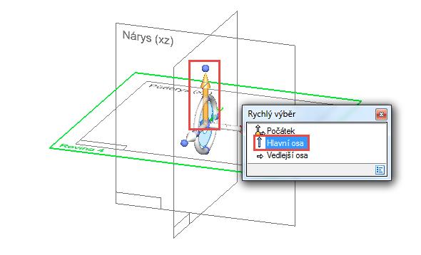 Klikněte na rovinu Půdorys (XY), vytvoří se nová rovina. Ve středu vzniknuvší roviny se objeví možnost Rychlý výběr, toho využijte kodsazení roviny. Klikněte na šipku mířící nahoru (Hlavní osa)