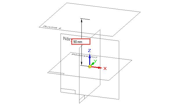 Tahem myši nebo přesným zadáním, definujte velikost odsazení na 90 mm. Ze záložky Domů → Kreslit vyberte příkaz Kružnice středem a uzamkněte si odsazenou rovinu klávesou F3