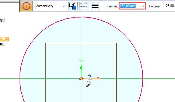 Ze středu souřadného systému nakreslete kružnici o průměru 250 mm