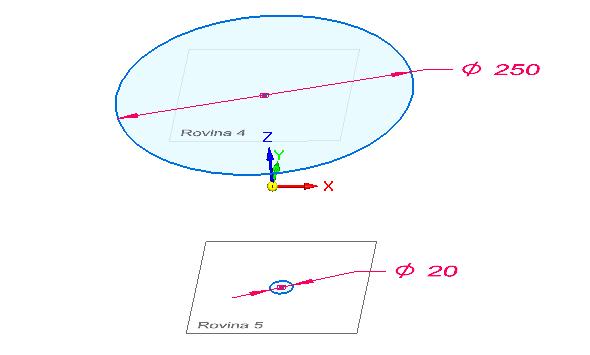 Celý postup zopakujte při tvorbě druhého profilu. Shodnou rovinu si odsaďte směrem dolů o 100 mm a nakreslete kružnici o průměru 20 mm, nakreslete bod do středu. Pro lepší přehlednost si vypněte ve stromovém modelu Základní referenční roviny a ujistěte se, že nemáte zamknutou rovinu