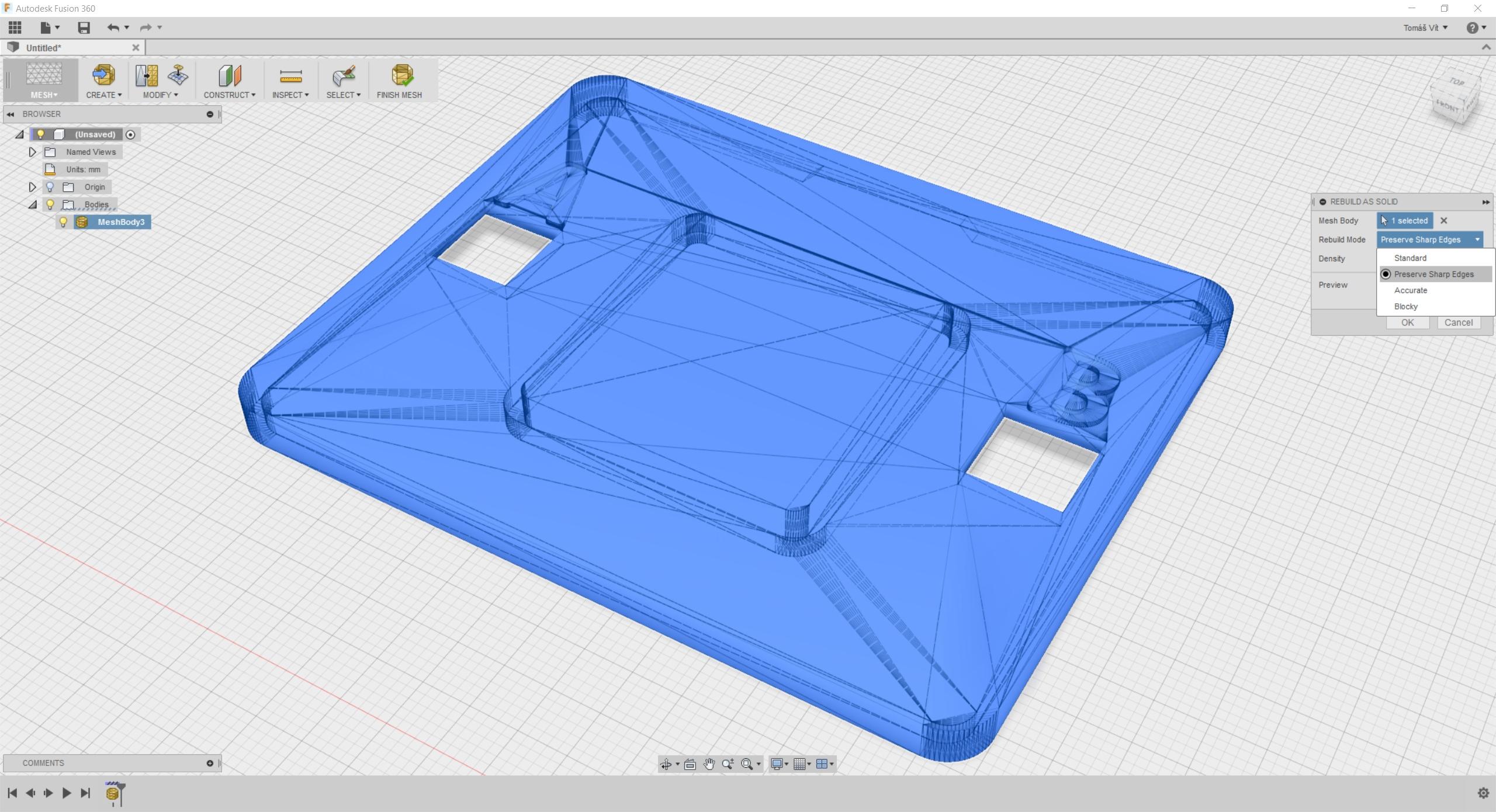 Fusion 360 umí upravovat modely tvořené povrchovou sítí