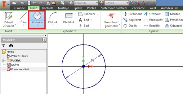 Vytvořte kružnici o průměru 18 mm. Průměr představuje opsanou kružnici vrcholů polygonu tvořícího hlavu šroubu