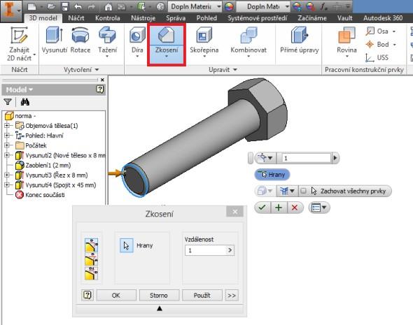 Vyberte funkci Zkosení, která naleznete vzáložce 3D model, včásti Upravit. Nastavte parametry zkosení 1 × 45 stupňů, označte hrany válcové plochy a dokončete příkaz