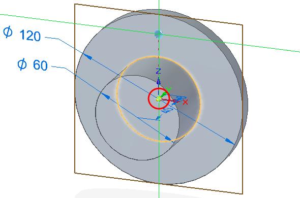 Jakmile máte nastaveny všechny potřebné parametry, vytvořte díru. Uzamkněte si rovinu, vekteré bude vytvořena díra a kurzorem si najeďte na střed. Od něho si po ose vytvořte díru, čímž zaručíte osovou souslednost