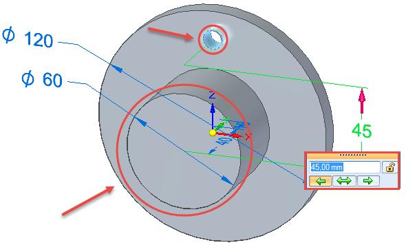 Vyberte nejdříve hranu vetší kružnice a poté hranu menší kružnice. Vzdálenost středů definujte na velikost 45 mm.