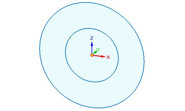 Ze středu počátku naskicujte dvě kružnice, jak je uvedeno na obrázku