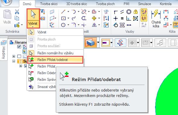 Proto v záložce Domů → Vybrat klikněte pod funkcí Vybrat na malou černou šipku a menu vyberte nástroj Režim Přidat/Odebrat. K výběru přidejte i menší kružnici