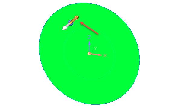 Nyní se dostáváte ksynchronnímu modelování. Klikněte na šipku, kterým směrem budete chtít vytvářet objemové těleso. Pronáš případ označte tu, která je zvýrazněna červenou šipkou.