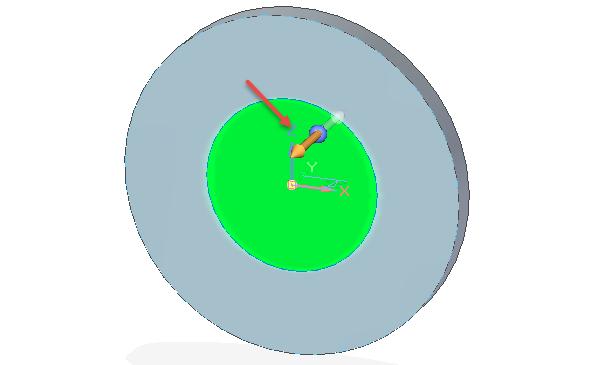 To samé proveďte i u menší kružnice, vyberte šipku směřující na opačnou stranu (směrem ksobě) a vytáhněte profil do hloubky 40 mm