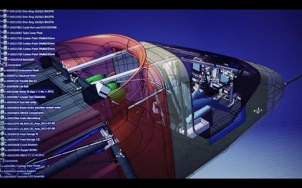 Svývojem a konstrukcí solárního letounu pomáhala platforma 3D Experience. Obr: Dassault Systèmes