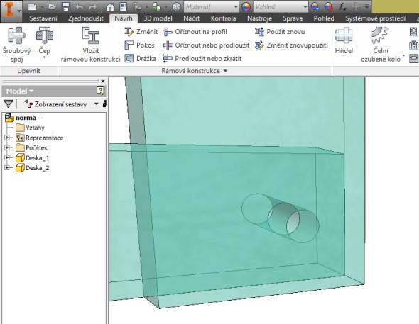 Vytvořte model, např. dva profily sotvory, které budou spojeny šroubem spodložkou a maticí