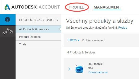 Přihlaste se do vzdáleného uživatelského prostředí Autodesk Account a klikněte na tlačítko Profile v horní části nabídky