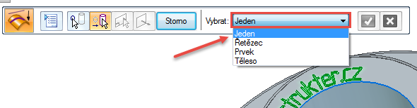 Označte text a potvrďte úpravy zeleným tlačítkem nebo pravým tlačítkem. Vdalším kroku po nás program žádá vybrání plochy, na kterou se mají promítnout křivky. Zrolovací nabídky vyberte možnost Jeden a označte požadovanou plochu