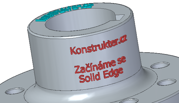 Hotový 3D text na rotační ploše