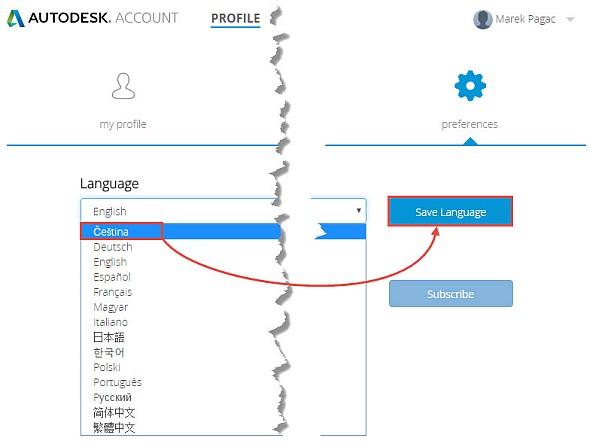 Zvolte ikonu Preferences a vyberte zroletové nabídky jazyk Čeština