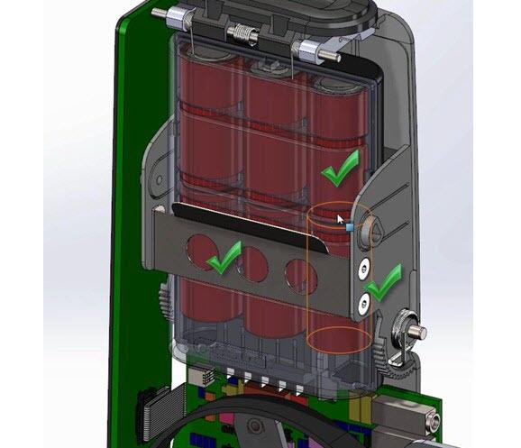 Model sestavy po aktualizaci podsestavy uložení baterií vAutodesk Inventoru