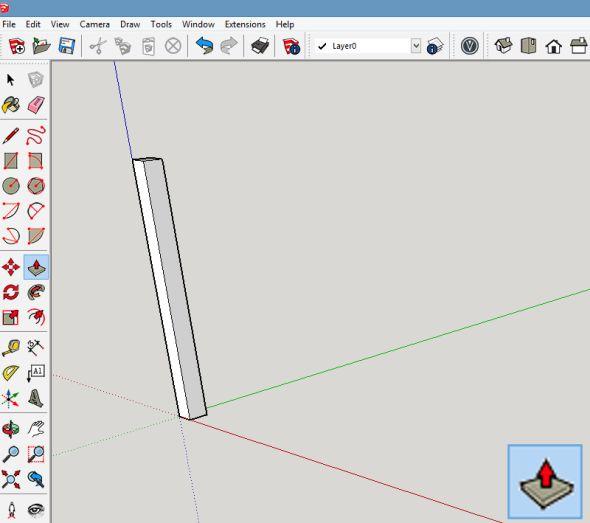 Vytvořený čtverec vytáhněte pomocí funkce Tlačit/táhnout do výšky, která bude představovat délku nohy stolu