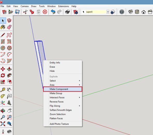 Zobjektu vytvořte komponentu. Komponentu je možné realizovat například tím, že vyberete objekt, kliknete na něj pravým tlačítkem a zmístní nabídky vyberte funkci Vytvořit komponentu (Make Component)