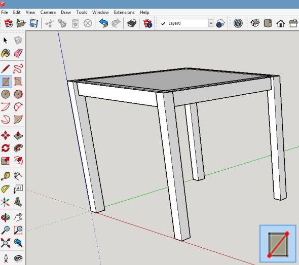 Poslední komponenta, kterou je třeba vytvořit, je stolní deska. Mezi vnější rohy nohou nakreslete obdélník
