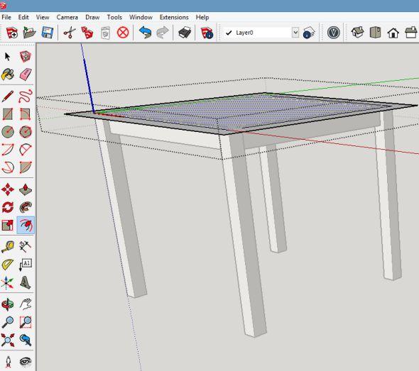 Vyberte plochu obdélník desky stolu
