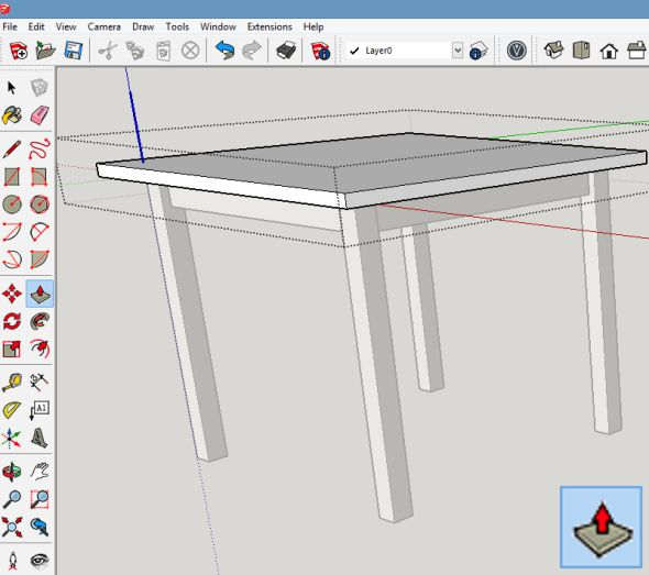 Funkcí Vytáhnout (Push/Pull) vytáhněte plochu desky stolu do požadované výšky, která bude představovat tloušťku desky stolu
