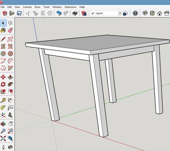 Stůl je vytvořen. V tuto chvíli se jedná o základní model, který je možné dále editovat, opatřit jej texturami atd.