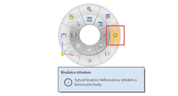 Založte nový dokument iso metric part.par. Klikněte pravým tlačítkem do grafické plochy a tažením směrem doprava a zgest myši vyberte příkaz Kružnice středem