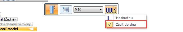 Ze záložky Domů → Tělesa vyberte příkaz Díra, zvolte závit M10 a po rozbalení roletové nabídky po kliknutí na černou šipku vpravo vyberte funkci Závit do dna – závit bude aplikován na celou délku dříku