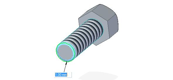 Zaoblete spodní hranu šroubu poloměrem zaoblení 1 mm