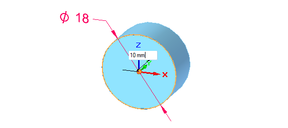 Klikněte na kružnici a těleso synchronně vytáhněte do vzdálenosti 10 mm