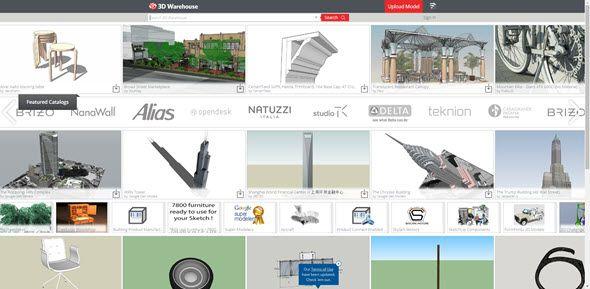 Plnohodnotné webové úložiště 3D Warehousenabízí volně přístupné modely nadšených uživatelů