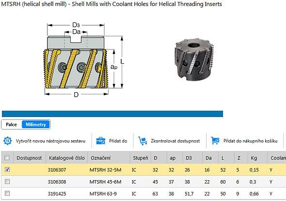 On-line řešení nabízí vytvoření nové nástrojové sestavy, kontrolu dostupnosti i geometrické rozměry