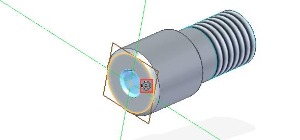Najeďte kurzorem na rovinu/plochu, od které bude začínat závit vdíře. Klávesou F3 uzamkněte rovinu. Jakmile se objeví symbol Soustředná, vytvoří se automaticky vazby. Kliknutím levým tlačítkem dokončete vytvoření díry se závitem
