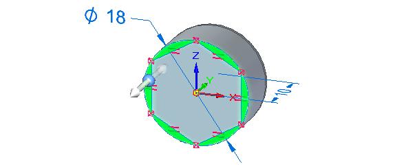 Stiskněte klávesu Ctrl a vyberte plochy zvýrazněné zelenou barvou na obrázku. Plochy vysuňte směrem do materiálu do vzdálenosti 10 mm. Tímto je vytvořena hlava šestihranného šroubu