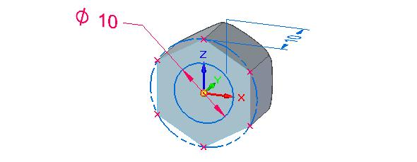 Na přední ploše modelu naskicujte kružnici se středem vose o průměru 10 mm
