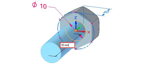Vysuňte dřík šroubu do vzdálenosti 30 mm