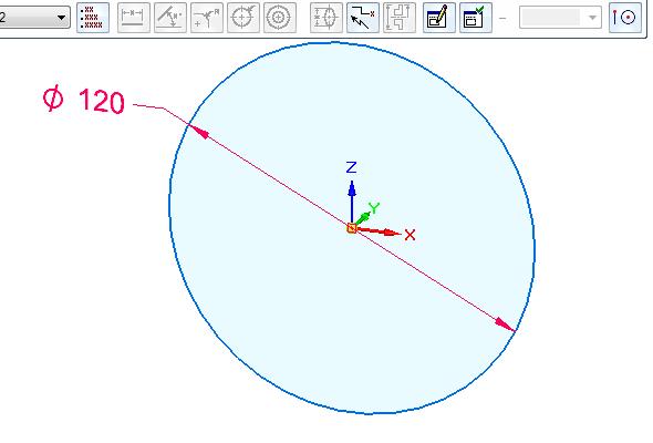 Založte nový dokument iso metric part.par a vyberte příkaz Kružnice středem ze záložky Domů. Nakreslete kružnici o průměru 120 mm