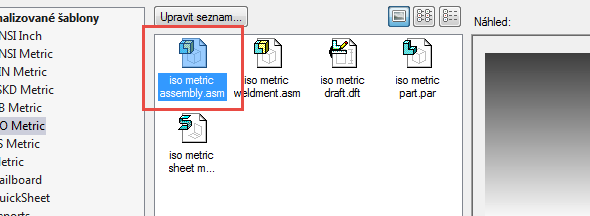 Založte nový dokument iso metric assembly.asm, tím se dostane do prostředí pro skládání komponent
