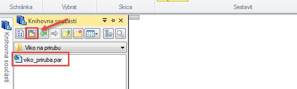 Vlevé části monitoru se zobrazí Knihovna součástí spředdefinovanou složkou. Kliknutím na ikonku označenou červenou šipkou se dostanete do domácí složky, kde naleznete model víka. Pokud tomu tak není, kliknutím na rolovací políčko vyberte požadovanou složku