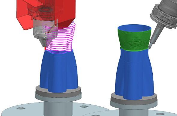Laserové navařování práškového kovu se zvýhodou využívá na hybridních CNC obráběcích centrech. Jedním ztakových strojů, které řešení NX bude podporovat, bude Lasertac od DMG Mori