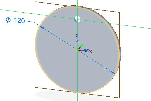 Ze záložky Domů → Tělesa vyberte příkaz Díra. Vplovoucím okně Možnosti díry nastavte velikost díry na 10 mm a hloubku 5 mm, poté vytvořte díru na ose Z