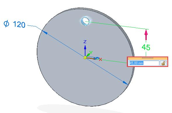 Chytrou kótou definujte velikost odsazení od středu na hodnotu 45 mm